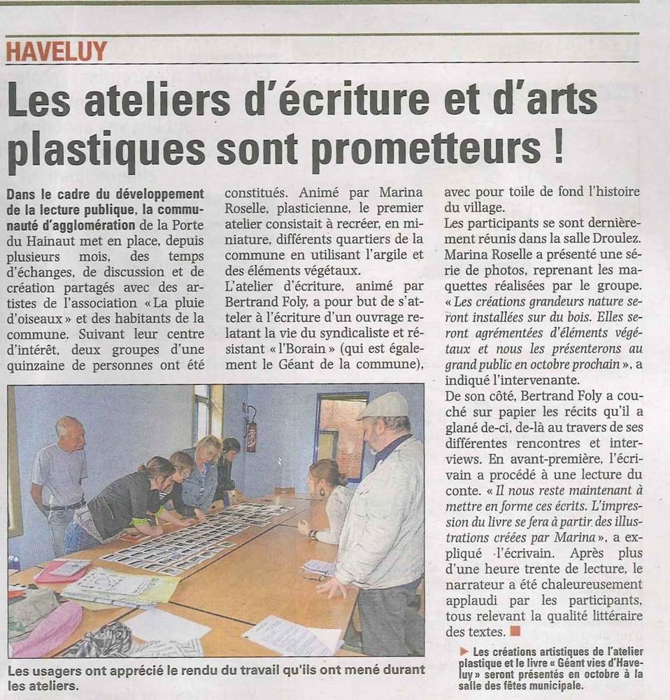 Les ateliers d'écriture et d'arts plastiques sont prometteurs - la Voix du Nord du 22 juillet 2013