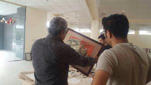préparation de la première exposition du Crossing Museum, musée des arts contemporain de Soulaimany